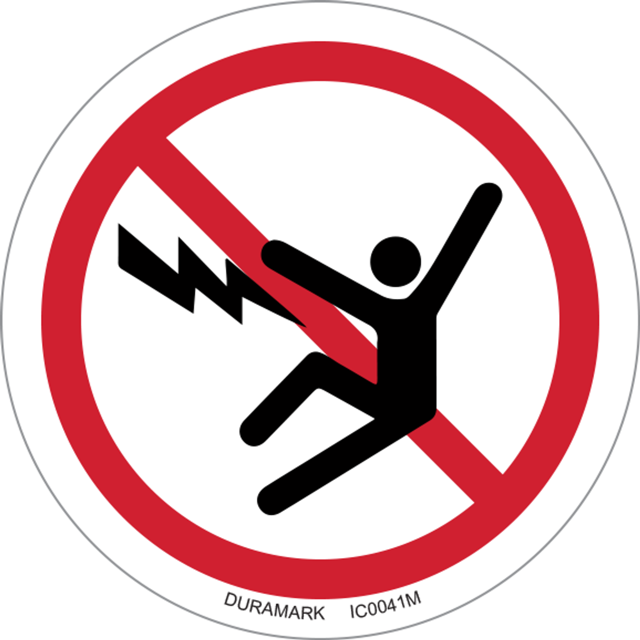 ISO safety label - Circle - Prohibited - Electric Shock