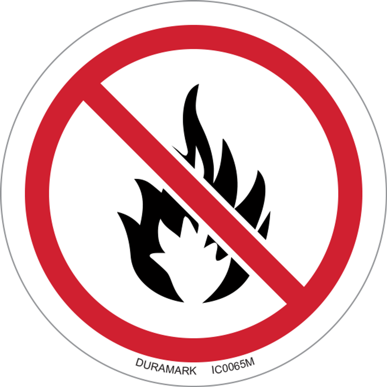 ISO safety label - Circle - Prohibited - No Fire Or Open Flame