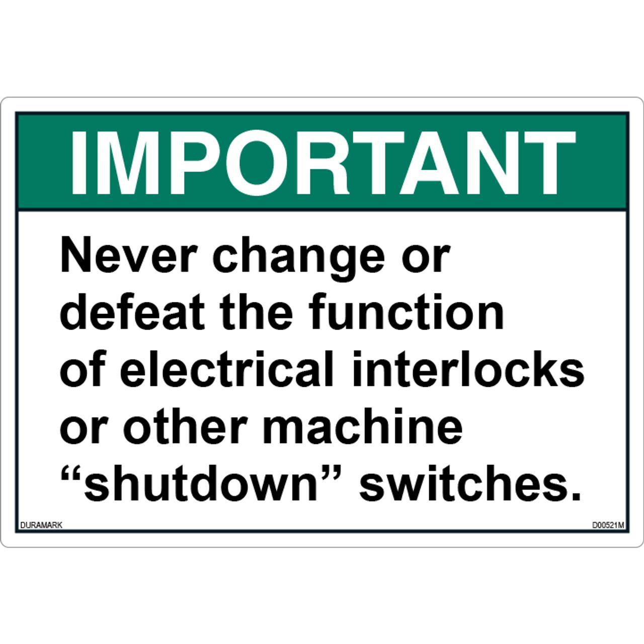 ANSI Safety Label - Important - Shutdown Switches