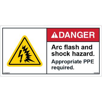 ANSI Safety Label - Danger - Shock/Arc Flash Hazard - PPE