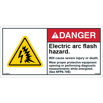 ANSI Safety Label - Danger - Electric Arc Flash Explosion - Injury or Death