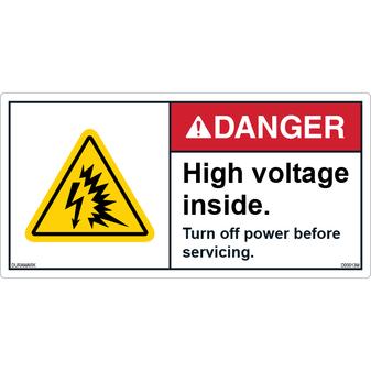 ANSI Safety Label - Danger - High Voltage Inside - Turn Off Power