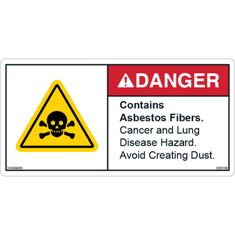 ANSI Safety Label - Danger - Contains Asbestos Fibers - Death