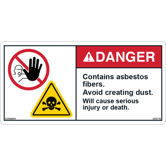 ANSI Safety Label - Danger - Contains Asbestos Fibers