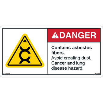 ANSI Safety Label - Danger - Contains Asbestos Fibers - Avoid Creating Dust