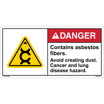 ANSI Safety Label - Danger - Contains Asbestos Fibers - Avoid Creating Dust - Cancer and Lung Hazard