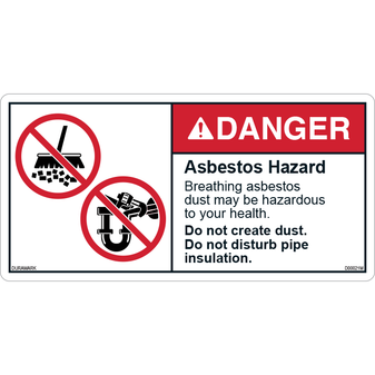 ANSI Safety Label - Danger - Asbestos Hazard - Dust and Pipe
