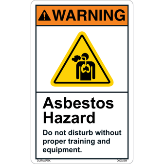 ANSI Safety Label - Warning - Asbestos Hazard - Proper Equipment