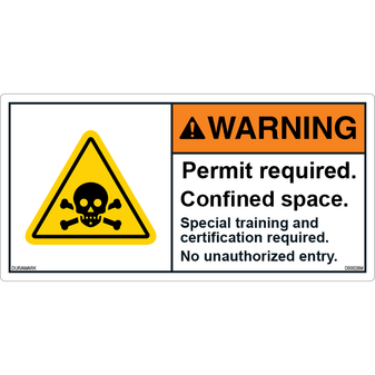 ANSI Safety Label - Warning - Confined Space - Permit Required