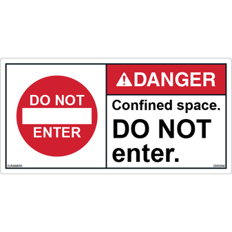 ANSI Safety Label - Danger - Confined Space - Do Not Enter