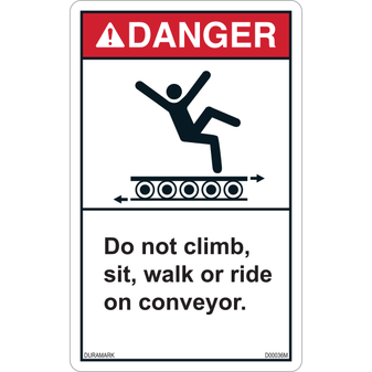 ANSI Safety Label - Danger - Conveyor Safety - Climb/Sit/Walk/Ride - Roller