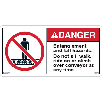 ANSI Safety Label - Danger - Conveyor Safety - Entanglement/Fall Hazard