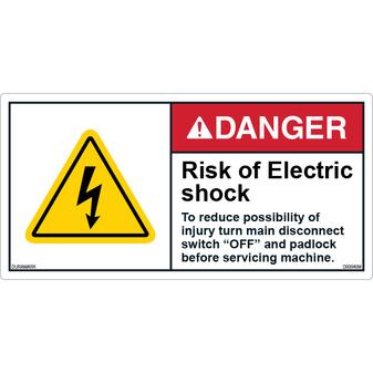 ANSI Safety Label - Danger - Electric Shock - Turn Off