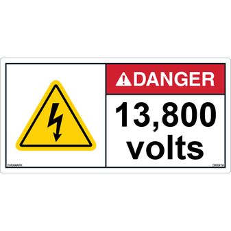 ANSI Safety Label - Danger - Electric Shock - 13800 Volts - Horizontal