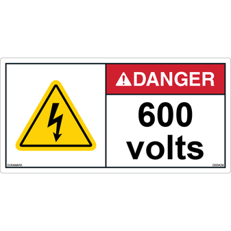 ANSI Safety Label - Danger - Electric Shock - 600 Volts - Horizontal