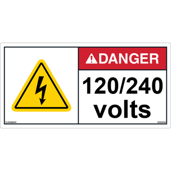 ANSI Safety Label - Danger - Electric Shock - 120/240 Volts - Horizontal