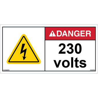 ANSI Safety Label - Danger - Electric Shock - 230 Volts - Horizontal