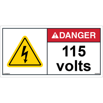 ANSI Safety Label - Danger - Electric Shock - 115 Volts - Horizontal