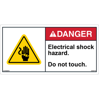 ANSI Safety Label - Danger - Electric Shock - Do Not Touch
