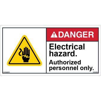 ANSI Safety Label - Danger - Electric Shock - Authorized Personnel