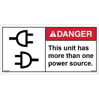 ANSI Safety Label - Danger - Electric Shock - More than One Power Source
