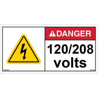 ANSI Safety Label - Danger - Electric Shock - 120/208 Volts - Horizontal