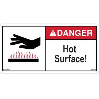ANSI Safety Label - Danger - Hot Surface - Hand