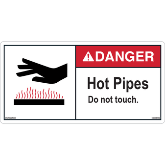 ANSI Safety Label - Danger - Hot Pipes - Do Not Touch