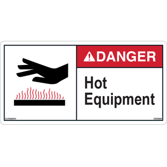 Danger - Hot Equipment - ANSI Safety Label