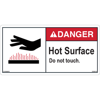 ANSI Safety Label - Danger - Hot Surface - Do Not Touch