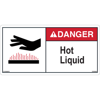 ANSI Safety Label - Danger - Hot Liquid