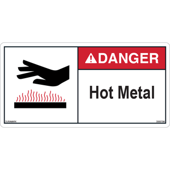 ANSI Safety Label - Danger - Hot Metal