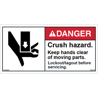 ANSI Safety Label - Danger - Crush Hazard - Keep Hands Clear
