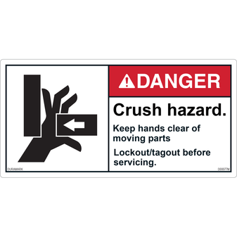 ANSI Safety Label - Danger - Crush Hazard - Lockout/Tagout