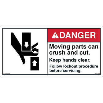 ANSI Safety Label - Danger - Moving Parts - Crush/Cut