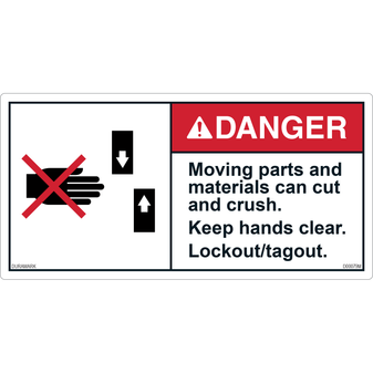 ANSI Safety Label - Danger - Moving Parts and Materials - Crush/Cut