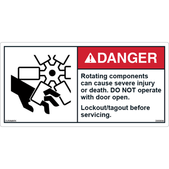 ANSI Safety Label - Danger - Rotating Components - Door Open