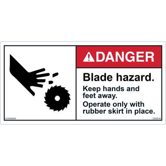 ANSI Safety Label - Danger - Blade Hazard - Hands and Feet