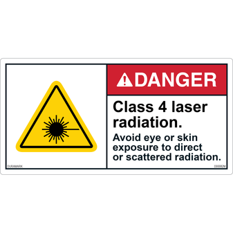 ANSI Safety Label - Danger - Class 4 Laser Radiation - Direct Exposure