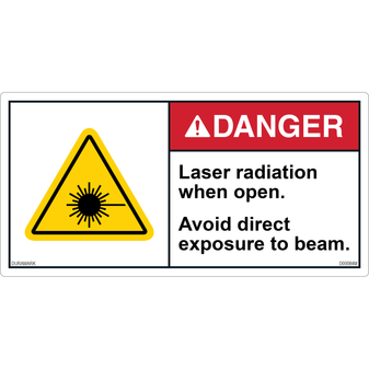 ANSI Safety Label - Danger - Laser Radiation When Open