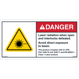 ANSI Safety Label - Danger - Laser Radiation When Open/Interlocks