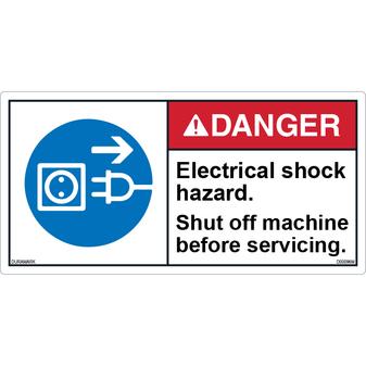 ANSI Safety Label - Danger - Electric Shock Hazard - Shut Off Machine