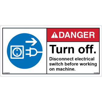 ANSI Safety Label - Danger - Turn Off - Disconnect Electrical