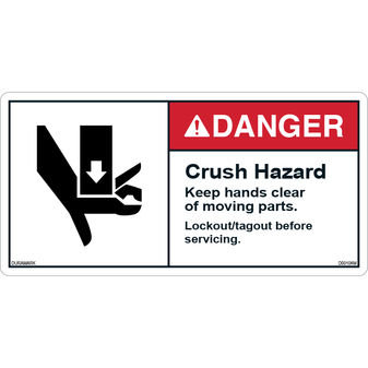 ANSI Safety Label - Danger - Do Not Enter - Lock Out Procedures
