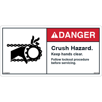 ANSI Safety Label - Danger - Crush Hazard - Gear