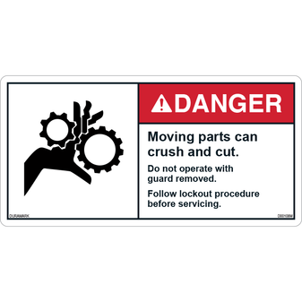 ANSI Safety Label - Danger - Moving Parts Crush/Cut- Lockout Procedure