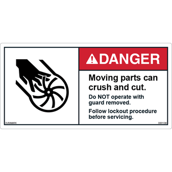 ANSI Safety Label - Danger - Moving Parts - Guard Removed