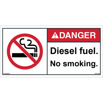 ANSI Safety Label - Danger - No Smoking - Diesel Fuel