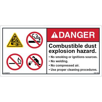 ANSI Safety Label - Danger - No Smoking - Combustible Dust Explosion Hazard