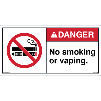 ANSI Safety Label - Danger - No Smoking or Vaping